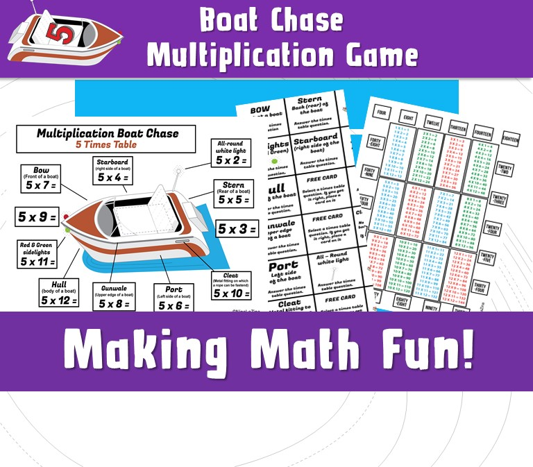 Printable Games How To Play Multiplication Boat Chase