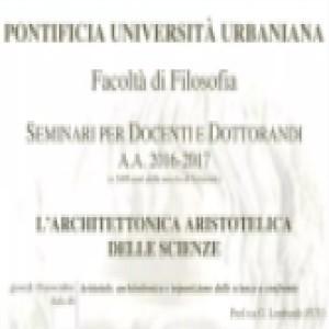 Architettonica aristotelica delle scienze 10 novembre 2016