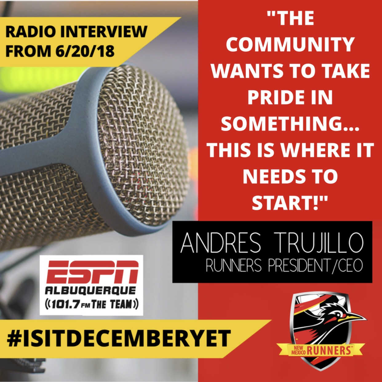 New Mexico Runners Arena Soccer on ESPN Radio 6-20-18
